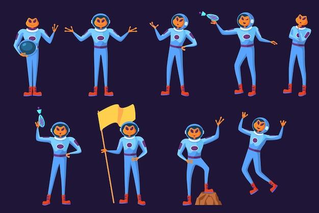 Conjunto de homens engraçados alienígenas em trajes espaciais azuis.