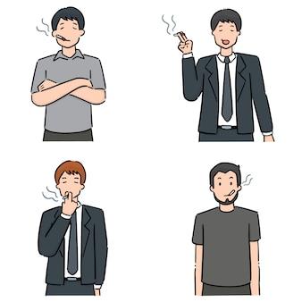 Conjunto de homens fumando cigarros