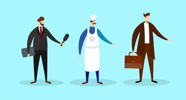 Conjunto de homens jornalista, chef, empresário empregados