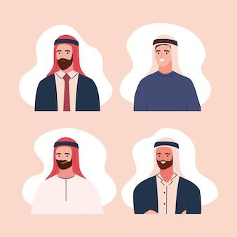 Conjunto de homens muçulmanos