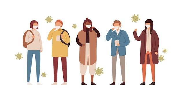 Conjunto de homens, mulheres e adolescentes com máscaras faciais protetoras.