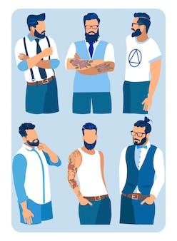 Conjunto de homens penteados, barbas e bigode de moda