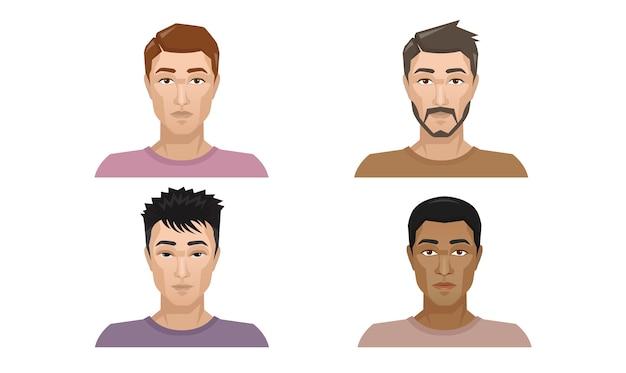 Conjunto de homens usado para criar o estilo de cabelo da barba do personagem.
