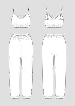 Conjunto de homewear feminino. desenho de moda. top de corte e calças de corrida.