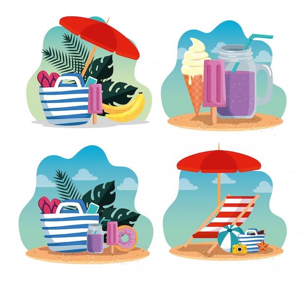Conjunto de horário de verão com bolsa e sorvete com bebida smoothie