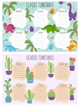 Conjunto de horários escolares. modelo de vetor de programação semanal para alunos da escola, decorado com dinossauros coloridos engraçados, insetos, borboletas, libélulas, mariposas e cactos em vasos.