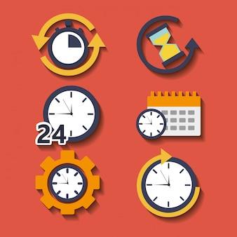 Conjunto de horas do relógio de ponto para o serviço de plano de trabalho