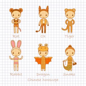 Conjunto de horóscopo chinês rato, boi, tigre, coelho, dragão e cobra. mão desenho ilustração