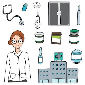 Conjunto de hospital, equipamentos hospitalares e equipe médica