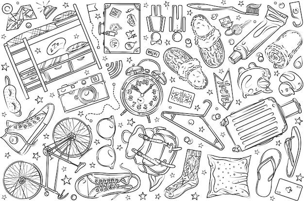 Conjunto de hostel de mão desenhada doodle fundo