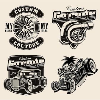 Conjunto de hot rod com tema para logotipos