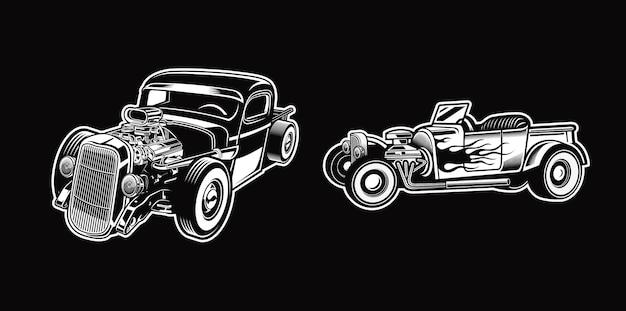 Conjunto de hotrod vintage em carros monocromáticos estilo retro premium vector