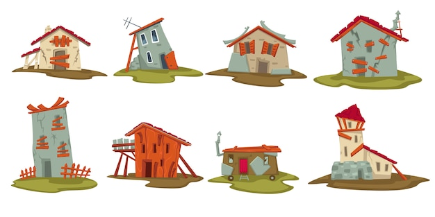 Conjunto de houes ou celeiros antigos em áreas rurais