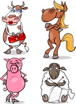Conjunto de humor dos desenhos animados dos animais de fazenda