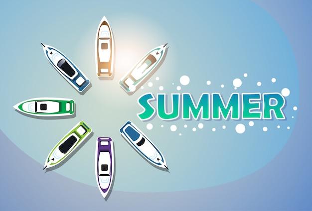 Conjunto de iate de férias de verão banner de férias tropical