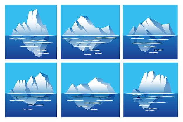 Conjunto de icebergs de design plano