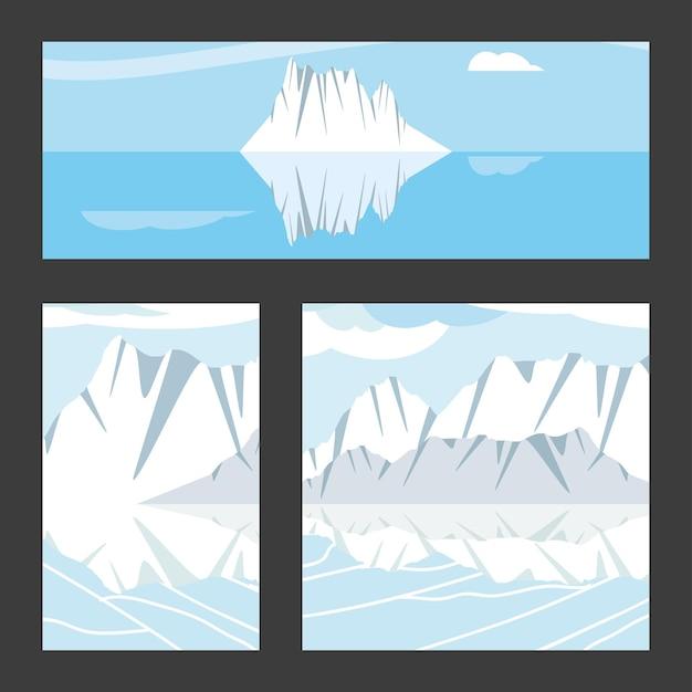 Conjunto de icebergs de rio de inverno com paisagem