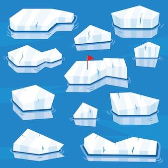 Conjunto de icebergs dos desenhos animados. ilustração.