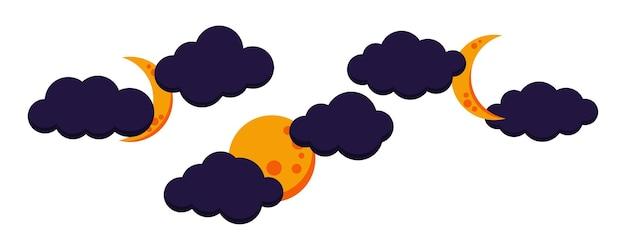 Conjunto de ícone colorido de lua nublada noite cheia, minguante, lua crescente.