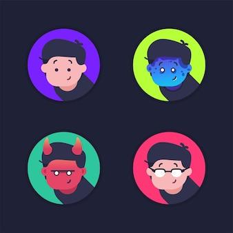 Conjunto de ícone de avatar com personagem de design de variação