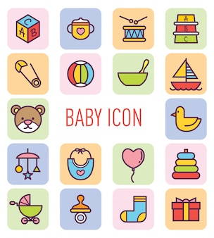 Conjunto de ícone de bebê fofo