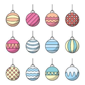 Conjunto de ícone de bolas de natal. vetor de arte de linha