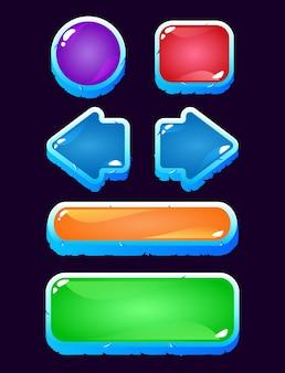 Conjunto de ícone de botão de gelatina colorida da interface do usuário do jogo com gelo congelado