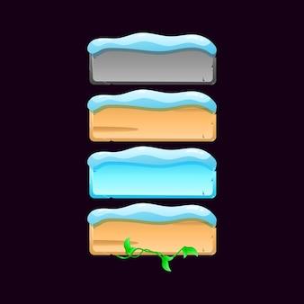 Conjunto de ícone de botão de placa de interface do usuário do jogo de inverno. textura de pedra, madeira, folha, neve para ilustração de elementos de recursos de interface do usuário