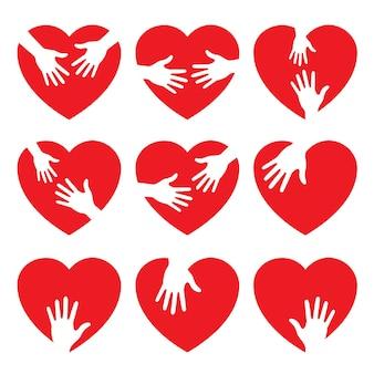 Conjunto de ícone de coração com mãos carinhosas ilustração vetorial logotipo da ajuda emblema do coração ícone do coração