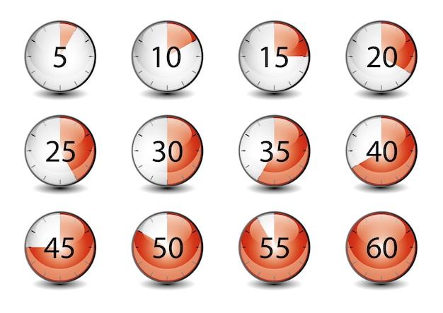 Conjunto de ícone de cronômetro 3d