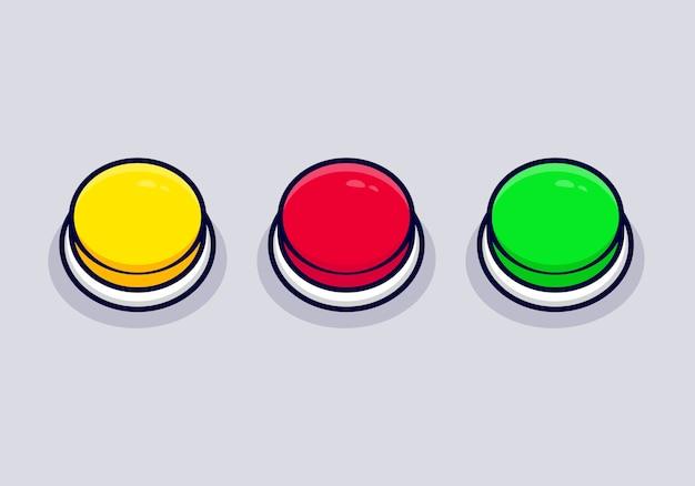 Conjunto de ícone de desenho animado do botão do círculo isolado em cinza