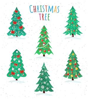Conjunto de ícone de diferentes árvores de natal, feliz ano novo conceito