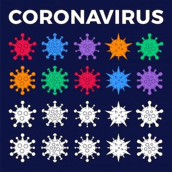 Conjunto de ícone de diferentes células virais. novo coronavírus (2019-ncov). estrutura de tópicos e ilustração de estilo sólido.