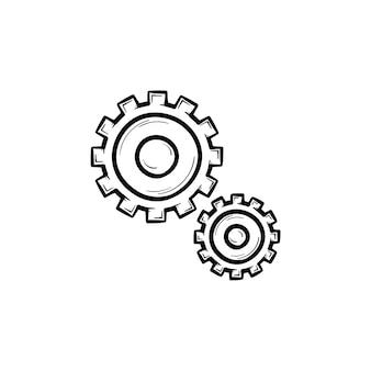 Conjunto de ícone de doodle de contorno desenhado de mão de duas engrenagens. mecânica e engrenagens, conceito de engenharia e mecanismo