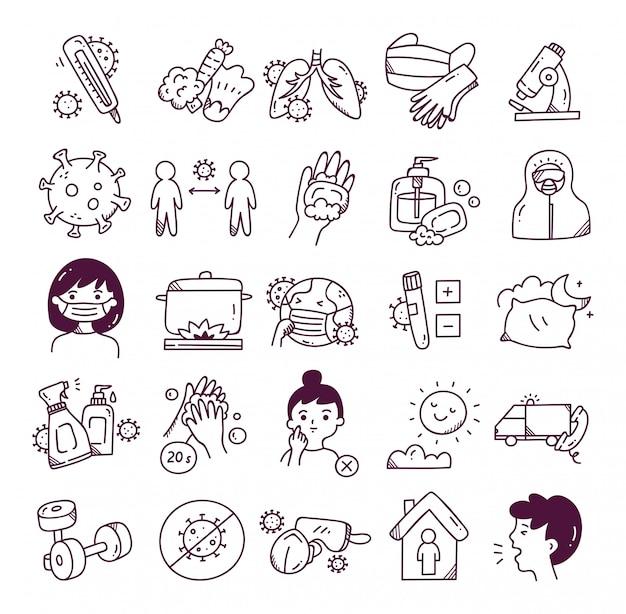 Conjunto de ícone de doodle de vírus corona