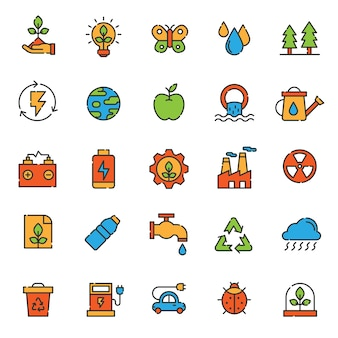 Conjunto de ícone de ecologia