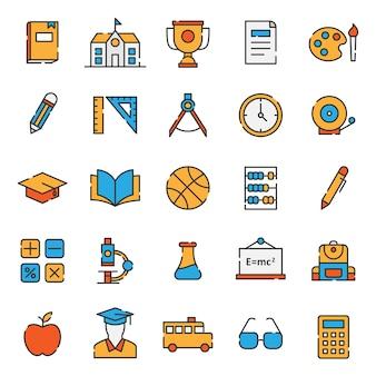 Conjunto de ícone de educação simples linha cheia
