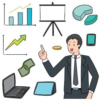 Conjunto de ícone de empresário e negócios