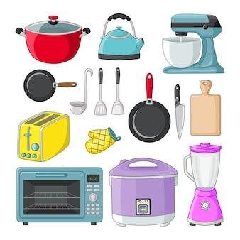 Conjunto de ícone de equipamento de cozinha