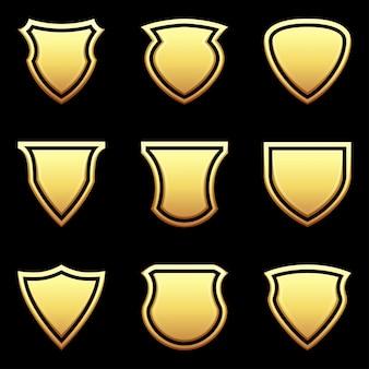 Conjunto de ícone de escudo em preto