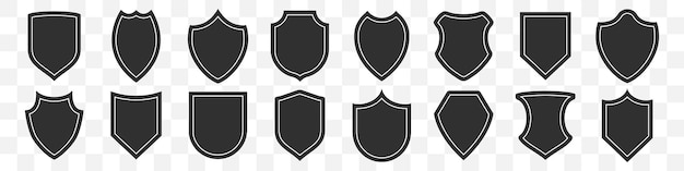 Conjunto de ícone de escudos em um fundo transparente