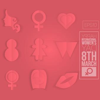 Conjunto de ícone de estilo origami feminino
