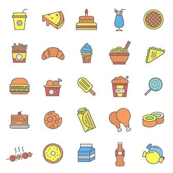 Conjunto de ícone de fast food e bebida