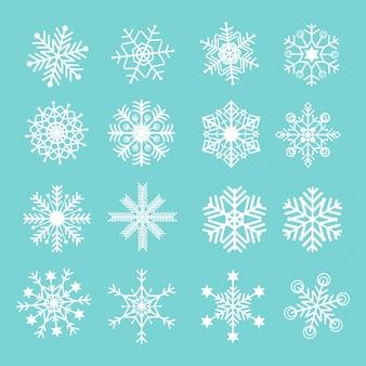 Conjunto de ícone de flocos de neve de vetor
