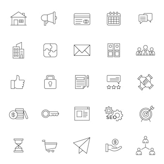 Conjunto de ícone de gestão de negócios