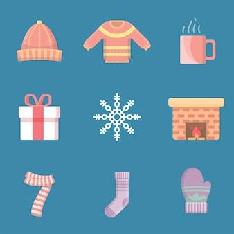 Conjunto de ícone de inverno plana