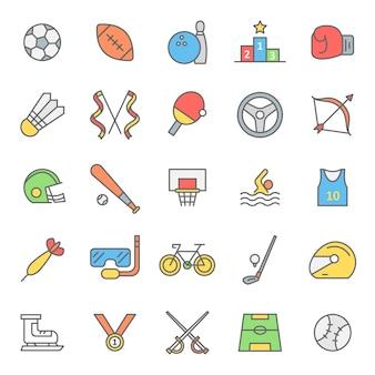 Conjunto de ícone de jogos de esporte com conceito moderno