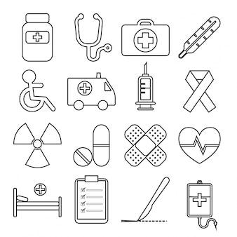 Conjunto de ícone de linha médica