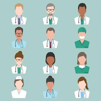 Conjunto de ícone de médico e enfermeiro