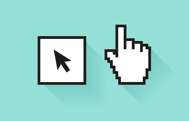 Conjunto de ícone de mídia social. mão de pixel e botão com a seta do cursor.